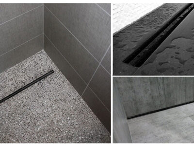 Set rigola pentru dus cu capac Neo Slim Pro Negru – 60 cm
