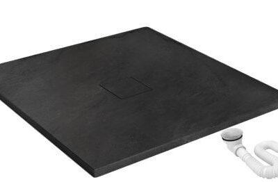 Cadita pentru dus Stone neagra – L80 x l120 x h3 cm