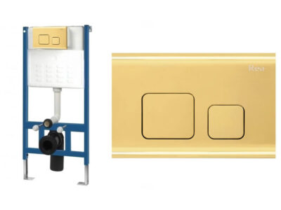 Set cu rezervor incastrat WC cu clapeta actionare F Light Gold